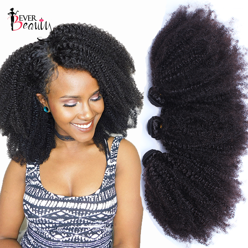 Mongolsk Afro Kinky Curly Weave Mänskliga Hårförlängningar 4B 4C Virgin Hair 1 eller 3 Bundlar Natural Black 10-24inch Ever Beauty