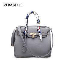 VERABELLE 8 colors 2017 women large capacity purses and handbag with ribbons lock totes PU Leather female shoulder/messenger Bag