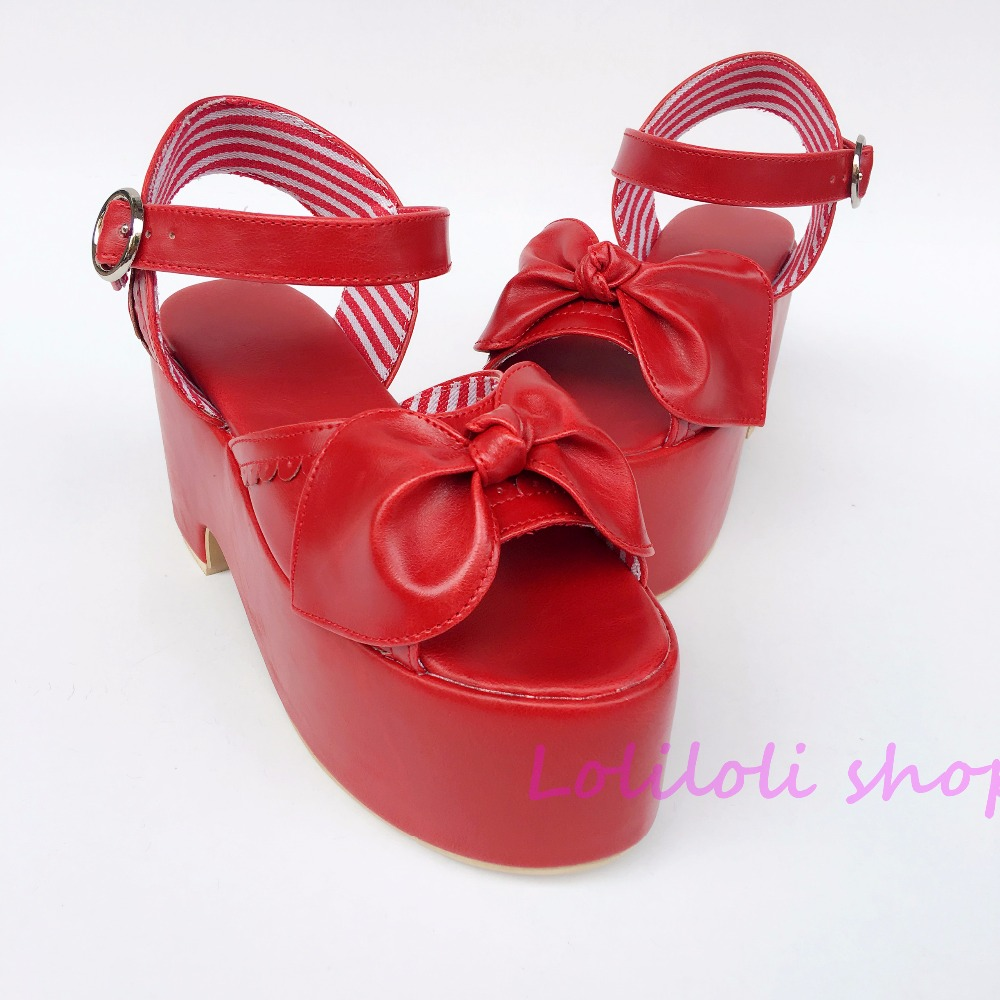 Princess sweet lolita shoes Japanese design customized special shaped Wine red bow tie Square heel sandals 5105 цена