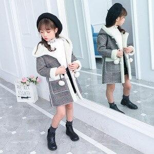 Image 3 - ファッション女の子のためのウォームジャケット冬の格子縞のフード付きコートパーカー上着子供女の子厚いオーバーヘビー級 4 14Y 子供