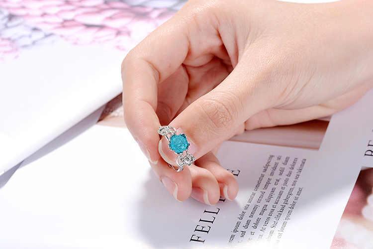 ترويج 925 فضة الأزياء روز زهرة المرأة الزفاف هدية خاتم ladies'finger خواتم مفتوحة لا تتلاشى انخفاض الشحن