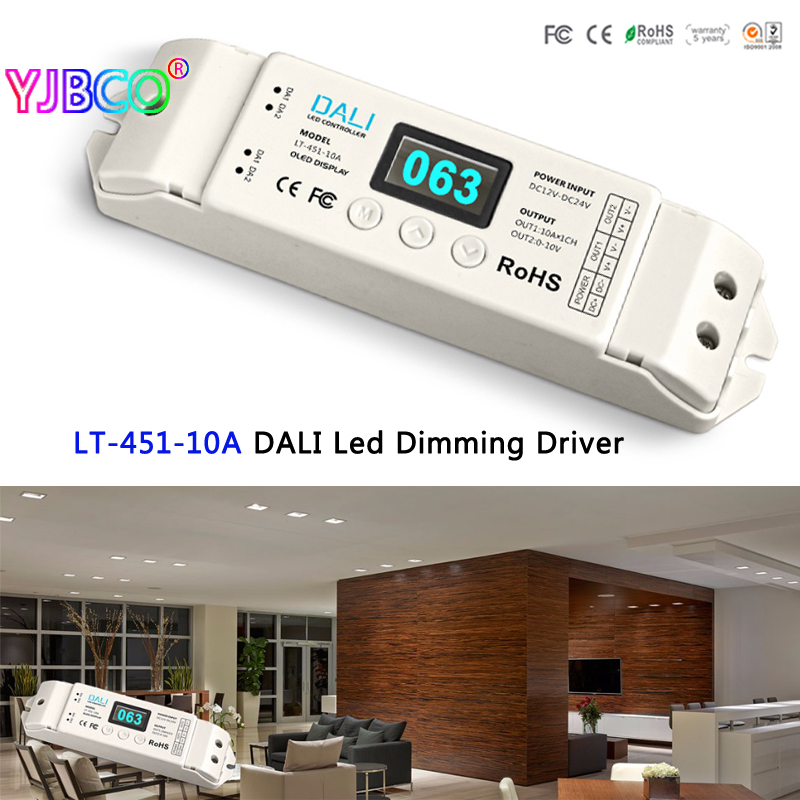 New LTECH LT-451-10A DALI Led Dimming Driver,DALI to PWM LED CV Dimming Driver;DC12-24V input;10A*1CH output for led strip lt 451 12a dali to pwm cv dimming driver dc12 24v input 12a 1ch 0 10v 1ch output