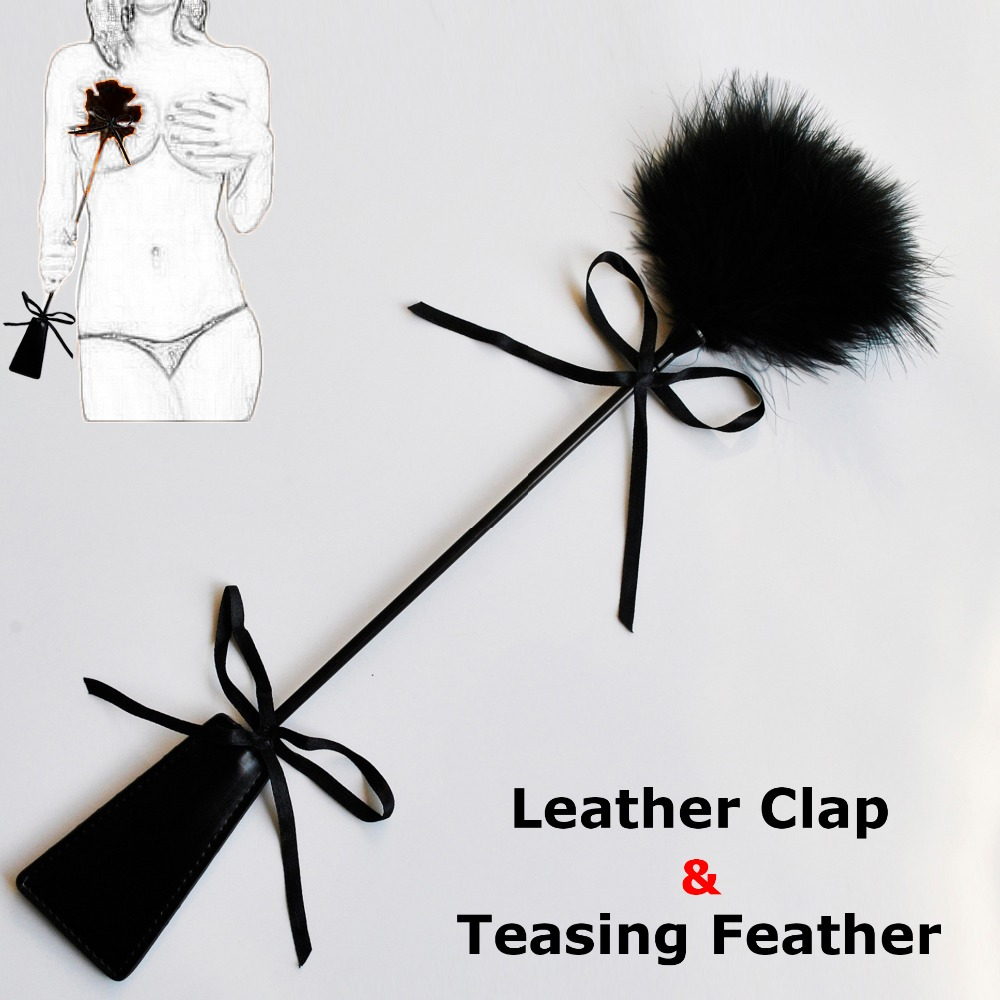 40cm PU Leather Spanking Paddle Slap Clap Flap Whip On Butt With Flirt Tickle Feather SM Sex Adult Game Toy For Women Man Couple