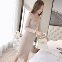 Autumn Straps Solid Dress Fashion Women Knitted Slim Pullover Clothing V Neck Pencil Sweater Ladies Long