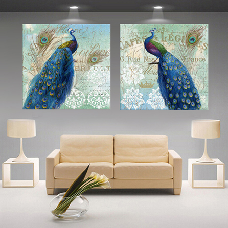 Designer Wall Art Peacock Painting Decoration Modular Animal Print Poster  Canvas Pictures On The Wall Sitting