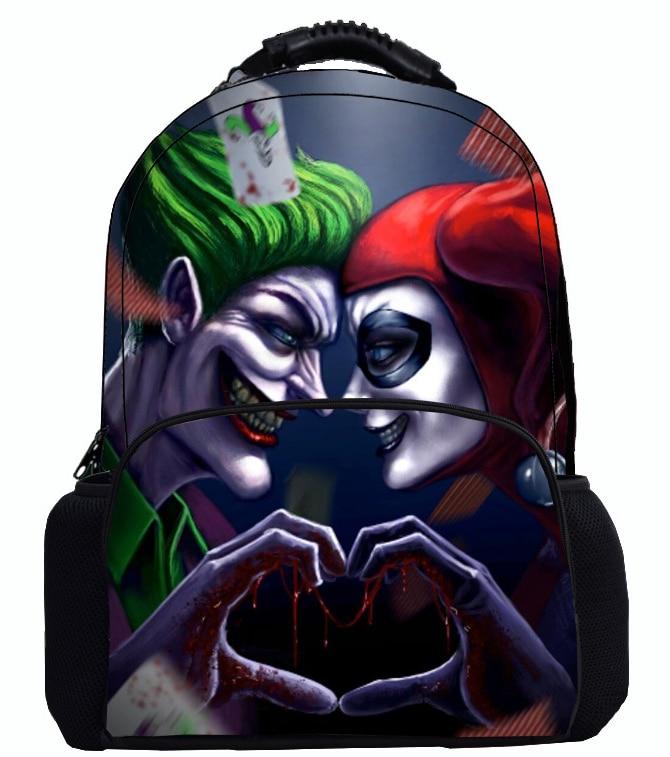 17 Inch Suicide Squad Backpack For Teenager Children Harley Quinn Joker School Bags Shoulder Bag Boys Girls School Backpacks