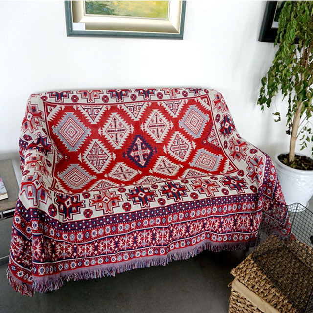 Bohemia 100% Cotton Threads Red Carpet for Sofa Living Room Bedroom ...
