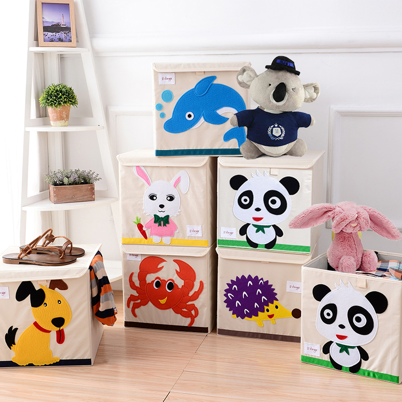 Square Collapsible Canvas Storage Box Foldable Kids Toys: New Cartoon Non Woven Fabric Folding Embroider Large