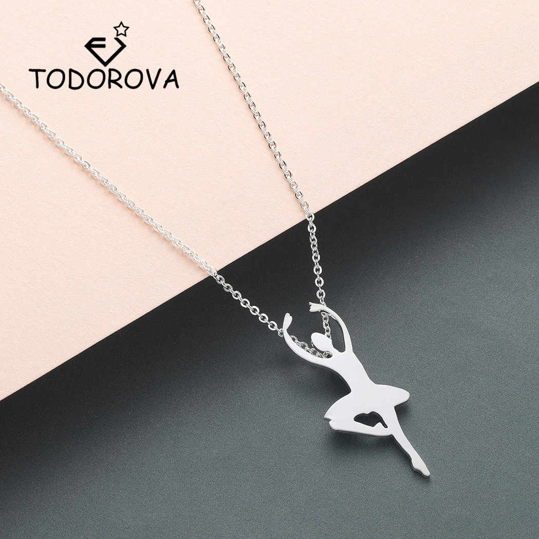 Todorova Elegant Ballerina Silhouette Pendant Necklace Women Ballet Necklace Dancers Accessories Jewelry Dancing Girls Gifts