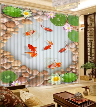3D Window Curtain Living Room Photo Sheer Curtains Stone Fish Decor Hotel Office Home Wall Tapestry Para Sale 3D Drapes
