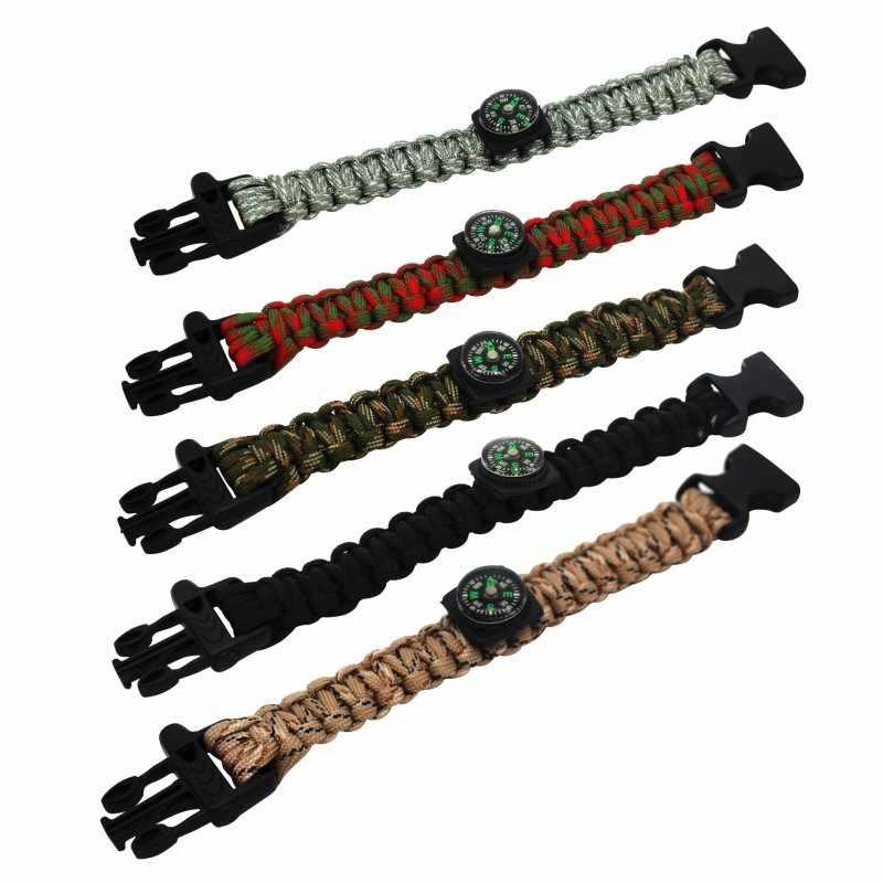 アウトドアキャンプレスキュー Paracord ブレスレット含むホイッスルとコンパス男性緊急ロープ黒サバイバルステンレスバックル