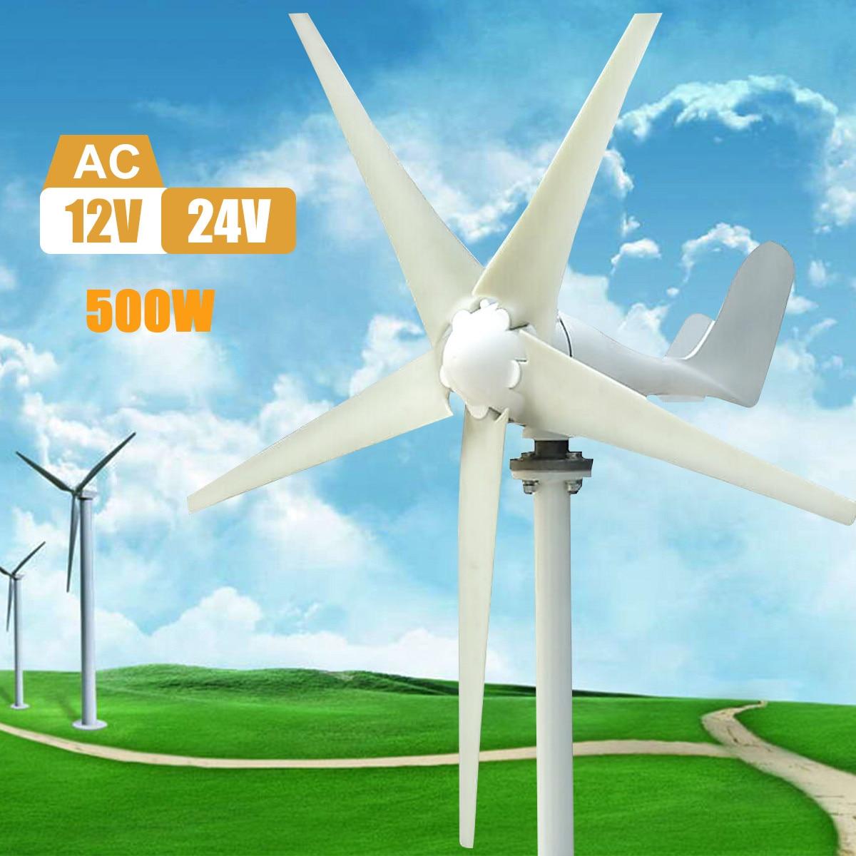 500 w Max 600 w Vent Turbine Générateur AC 12 v/24 v 5 Lame Alimentation pour La Maison hybride lampadaire utiliser