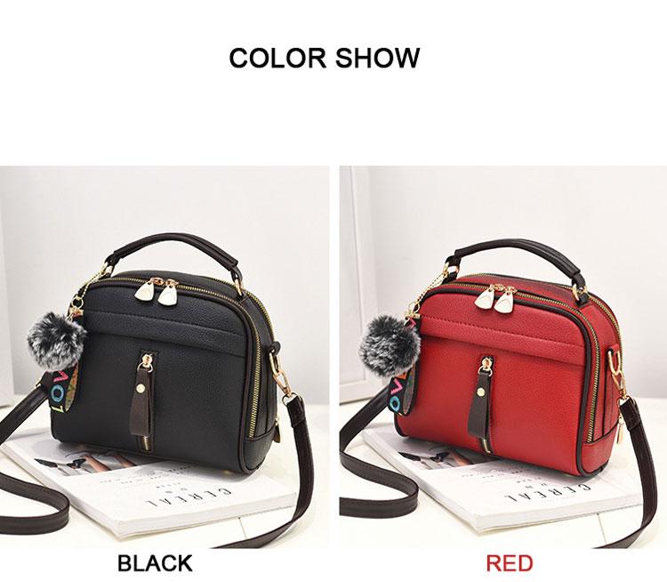 Fashion Women Handbag PU Leather Women Messenger Bags With Ball Toy Female Shoulder Bags Ladies Party Handbags 2019 6
