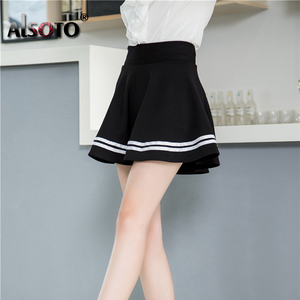 Image 5 - Mode Sommer Stil Frauen Rock Einfarbig Sexy Hohe Taille Midi Plissee Röcke Schwarz Schule Koreanische Version Mini A line Saia