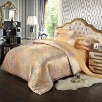 Hot!silk bedding set Queen King size 4pcs Noble Luxury bed set tribute silk satin jacquard duvet cover sheet bedclothes
