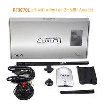 KuWFi Alfa AWUS036NH Беспроводной USB Wifi адаптер 150 Мбит RT3070L высокое Мощность Alfa Роскошные USB Wifi адаптер с 8dBi + 2dBi антенны