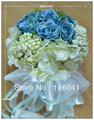 High quality Ivory& Blue Rose Wedding Bridal Bouquet
