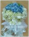 High quality Ivory& Blue Rose Wedding Bridal Bouquet