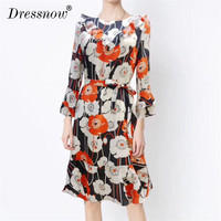 High Quality Floral Print Dresses for Women Summer Party Designer Red Silk Long Dresses Elegant Lady Dress