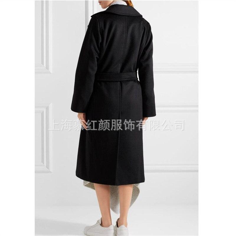 Style Streetwear Bureau Chaud 2018 Manteau Laine Noir Mode Long Élégant Hiver Coréenne Femmes De gqZnHH