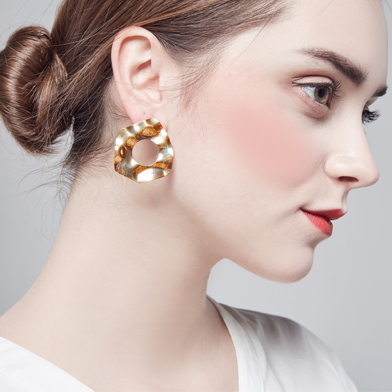 Hoop Earrings Party Women Jewellery Brass Big Ear Silver Plate