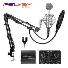 VARM! FELYBY NP800 professionell inspelning Kondensormikrofon inställd för dator med Phantom power och Multi-function ljud bil