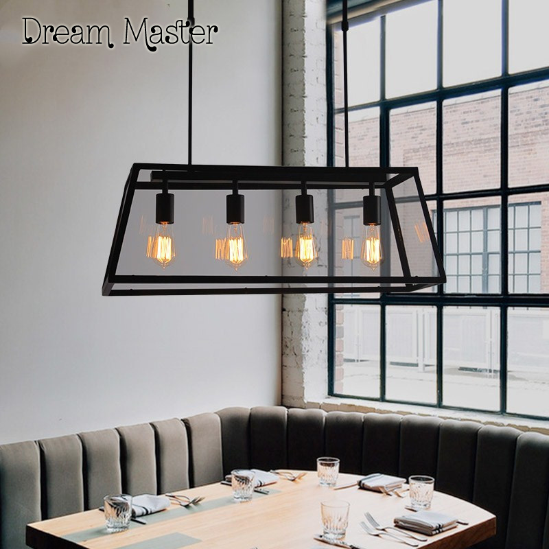 Industrial wind retro loft iron glass boxes chandeliers American creative personality bedroom living room restaurant lights fan lights retro personality loft industrial chandeliers restaurant cafe fan chandeliers lighting fixture led lamps for bedroom