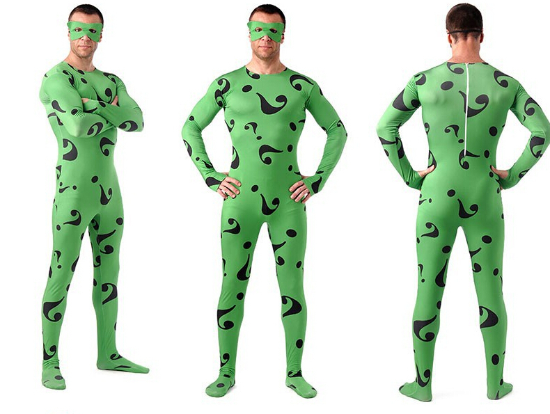 (AL103)Green The Riddle Question Mark Lycra Spandex Tights Unisex Zentai Suits Halloween Party Costume Fetish Zentai Wear