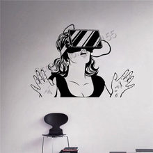 YOYOYU Vinyl Wall Decal Virtual Reality Headset VR Device Woman Stickers Playroom Home Decor Unique Gift DIY ZW392