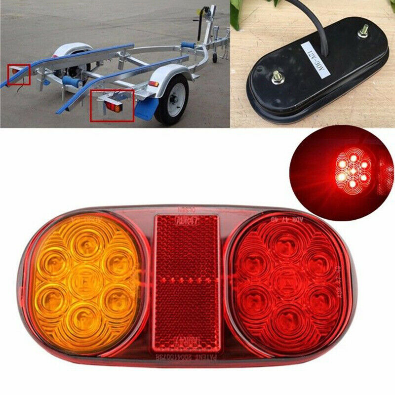 Yellow+Red LED Tail Lights Stop ABS Waterproof Indicator Car Boat Trailer Bulbs Accessories DC 10-30V