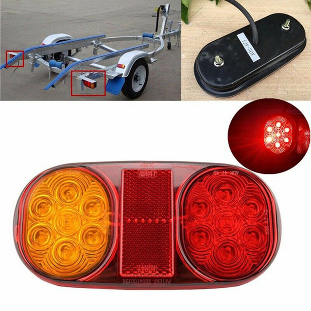 Yellow+Red LED Tail Lights Stop ABS Waterproof Indicator Car Boat Trailer Bulbs Accessories DC 10 30V