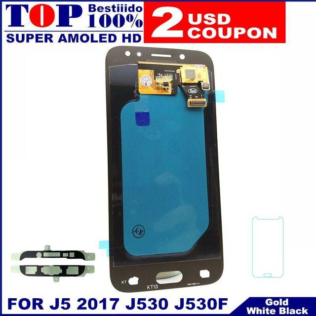 Para Samsung Galaxy AMOLED pantalla LCD J5 2017 J530 SM-J530F J530M pantalla LCD pantalla táctil digitalizador Asamblea con ajuste de brillo
