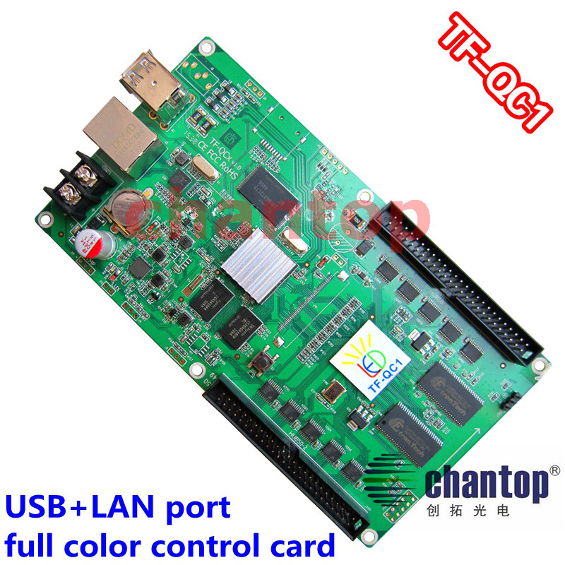 TF-QC1 USB+ network port full color asynchronous led control card 512x80 ,384x160 pixels video support  RGB module controller miller titan by honeywell ac qc xsbl aircore full body harness x small blue