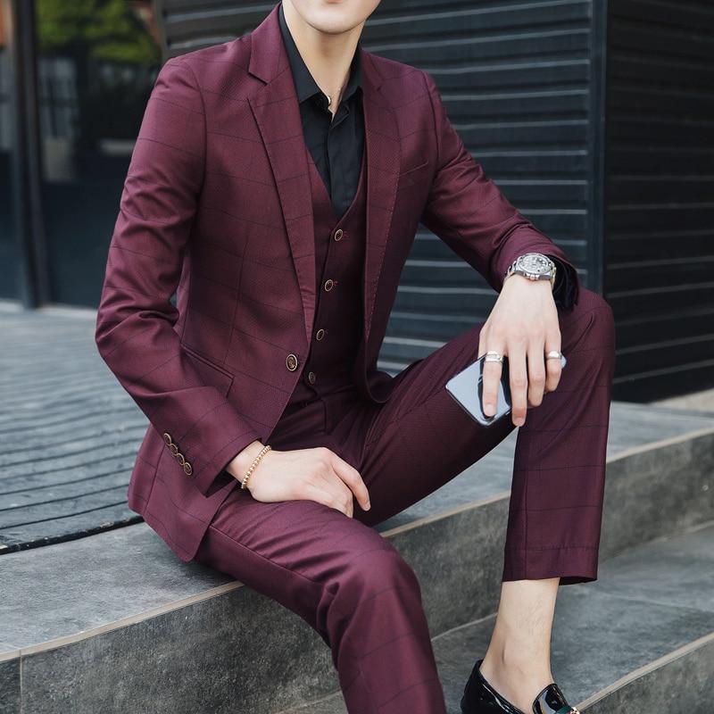 Grille Britannique Costume De Casual Pantalon Marié Coréenne pièce Trois Robe Gilet Mince Style Version La Tides 5xl avant Hommes Mariage 6RzOO0