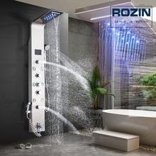 Panel de ducha de níquel cepillado montado en la pared, luz Led, lluvia, cascada, cabezal de ducha, juego de ducha de baño con pulverizador de bidé, chorros de masaje