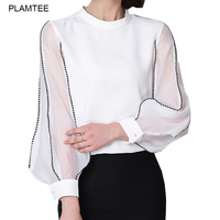 Lantern Sleeve Stand Collar White Black Blouse Mujer All Match Plus Size Camisas Femininas Elegant Ol
