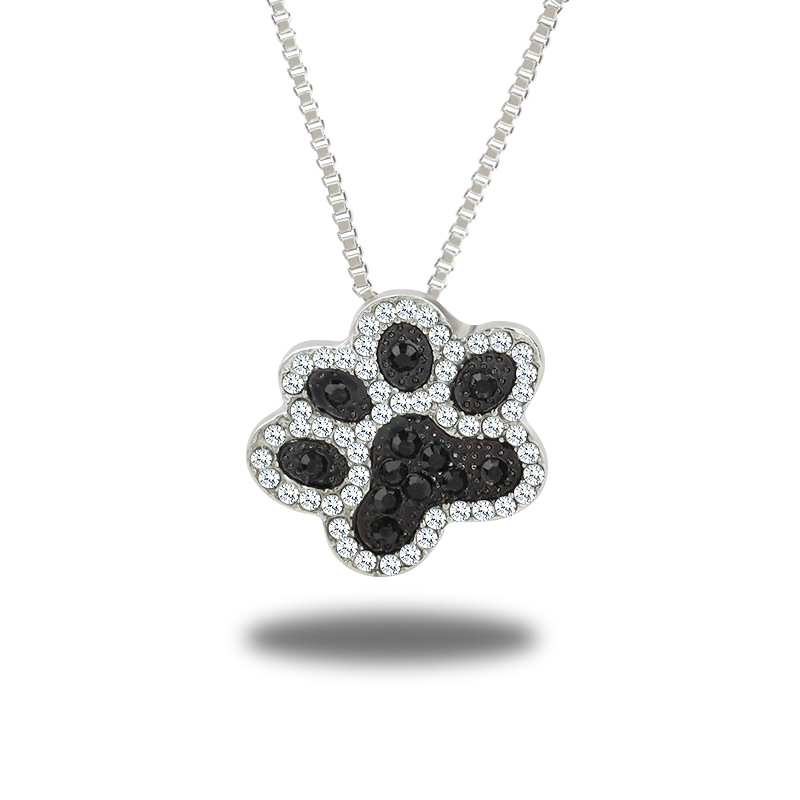 Dogs Paw Link Chains Pendants Necklace Jewelry For Women Silver Color Animal Feet Crystal Charm Sweater Necklaces Accessories