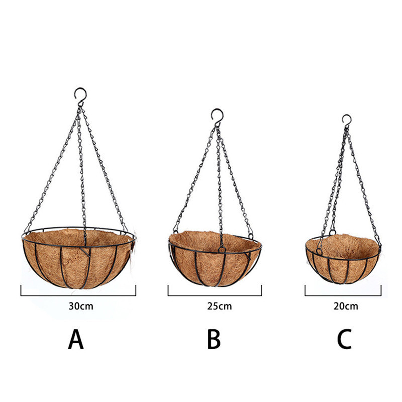 Coconut Palm Hanging Wall-mounted Flower Plant Basket Pot ...