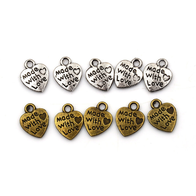 50pcs Alloy Metal Handmade With LOVE Heart Charms Pendants Necklace Bracelet Beads For DIY Fashion Charms Jewelry