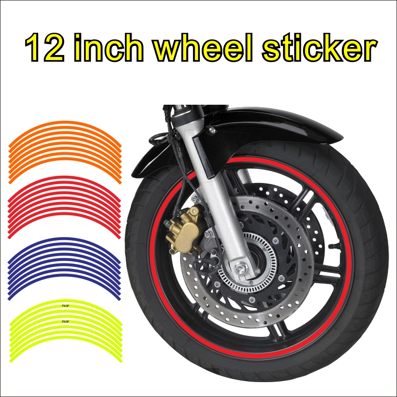 FASP 12 Inch Motorcycle  Wheel Hub Stickers Auto Decors Wheel Stickers 16 Strips Waterproof Decal