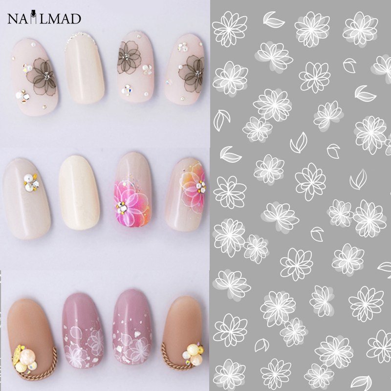 1 sheet White Butterfly 3D Nail Art Stickers Lace Flower Full Nail Stickers Nail Decals 1 sheet fading flower 3d nail art stickers lotus nail sticker adhesive nail decals nail stickers