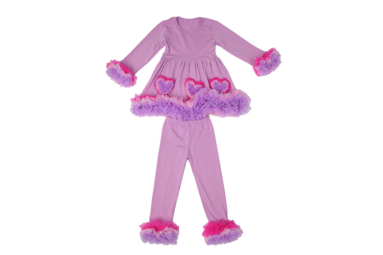 Girls Autumn winter ruffled outfits childrens boutique clothing sets heart design outfit for Valentine's Day baby clothes