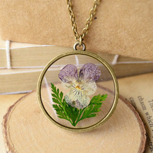 2016 New Fashion Natural Flowers Necklaces Pendants For Women Vintage Style Copper Alloy Jewelry