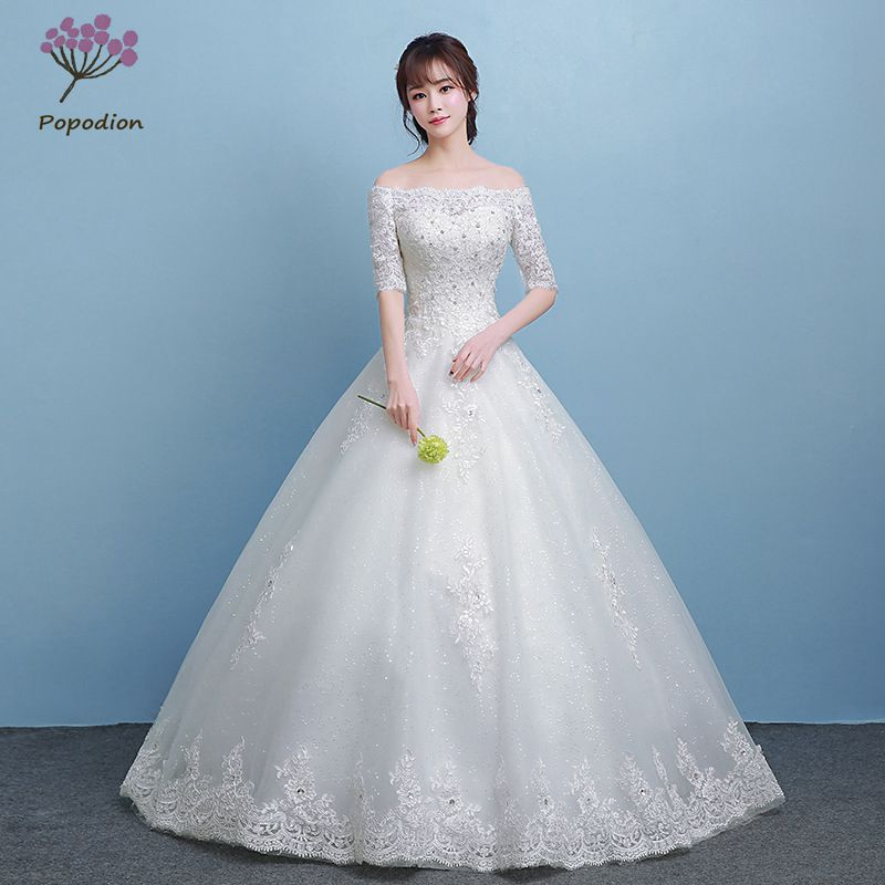Popodion Rhinestone Wedding Dress Lace Half Sleeve Bride
