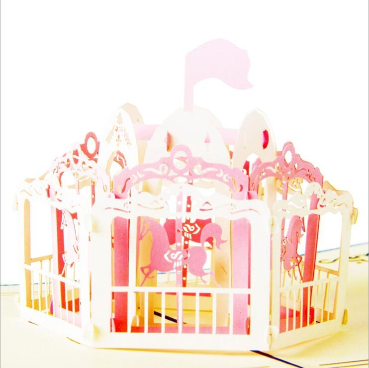 Creative 3d Handmade Paper Cut Merry Go Round Happy Birthday