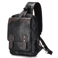 Leisure Chest Backpack Men Satchel Bag Sling Waterproof PU Leather Back Pack Man Crossbody Shoulder Bag