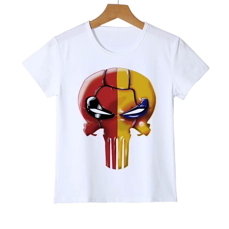 Skull Print Boy/Girl T-shirt Funny Kids Escaped Skeleton Deep O Neck T Shirt Baby Girl T-shirt Summer Top Quality Z30-6