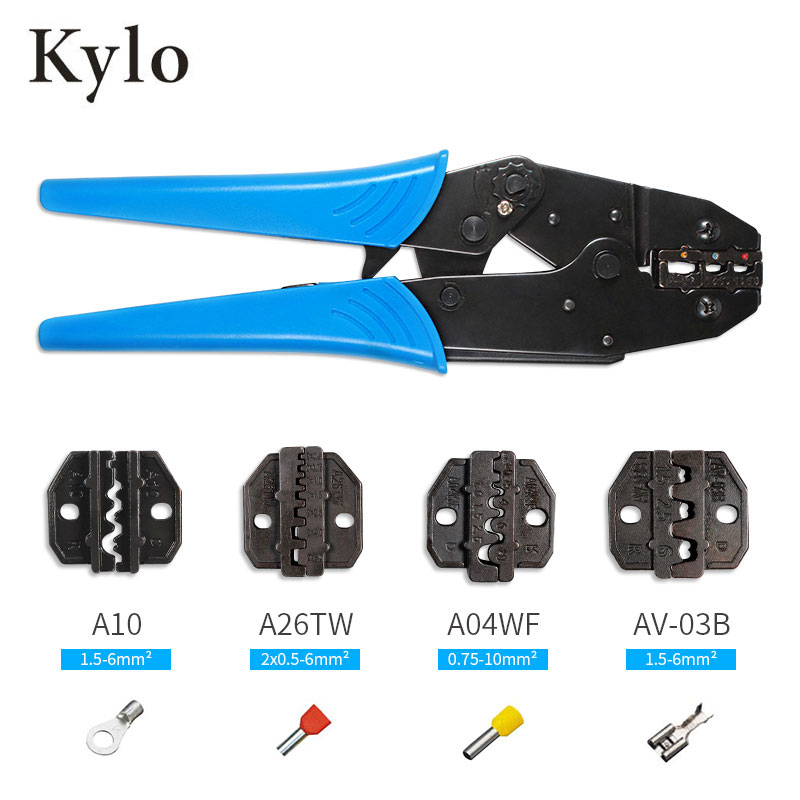 LY-03C Hand Crimping Tool Set&Box, includes 4 replaceable crimping dies and pliers
