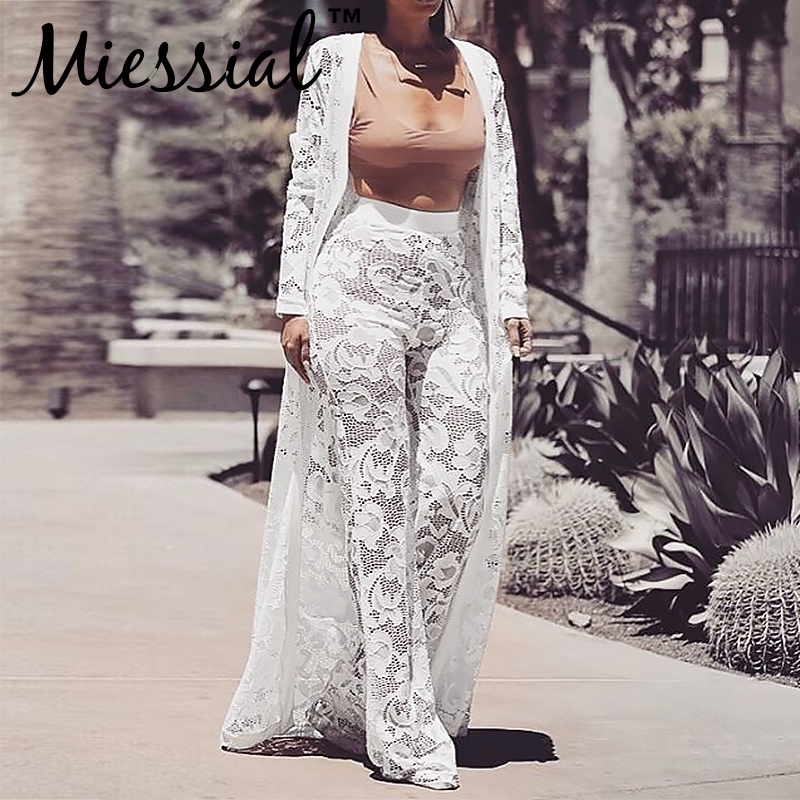Miessial Plus size white lace floral sexy   jumpsuit   Women strapless sash long playsuit Party winter outwear   jumpsuit   romper 3 set