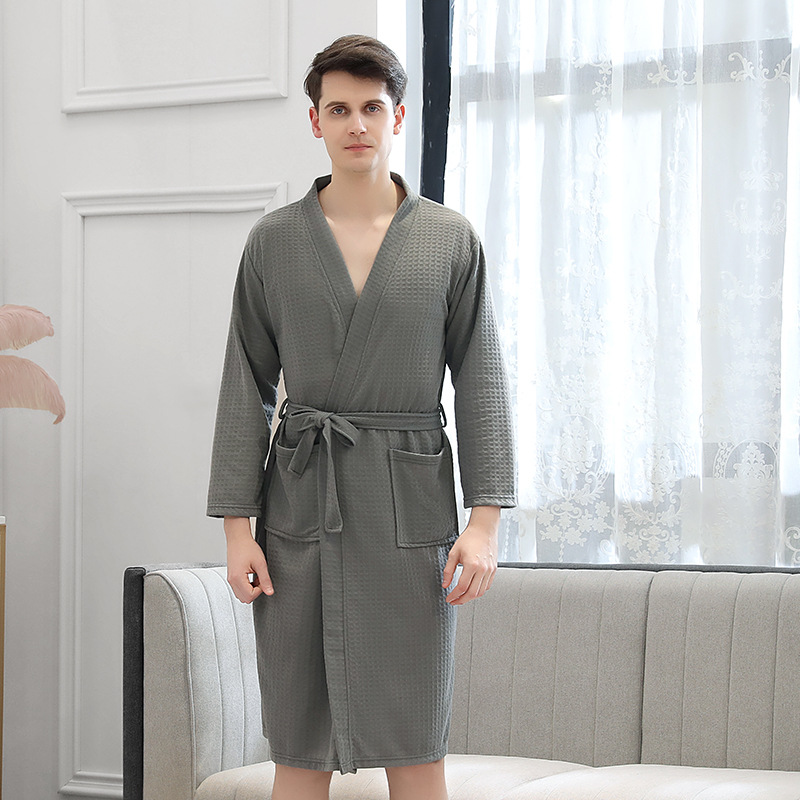 Bathrobe Men's Thin Bathrobe Absorbing Water Quick-drying Sexy Bathrobes For Men's And Women's Home Clothes Lover's Nightgowns